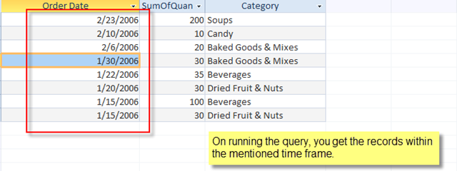 Examples of query criteria