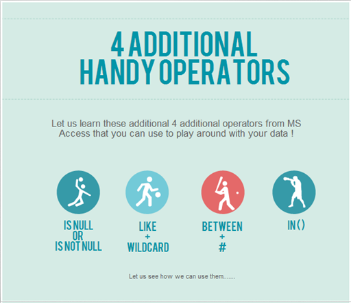 4 Additional Operators in MS Access