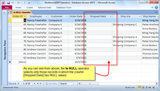 how to include null values in access query