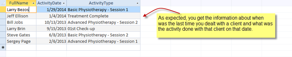 ReaderQuery : How to extract the last activity done with the client ?
